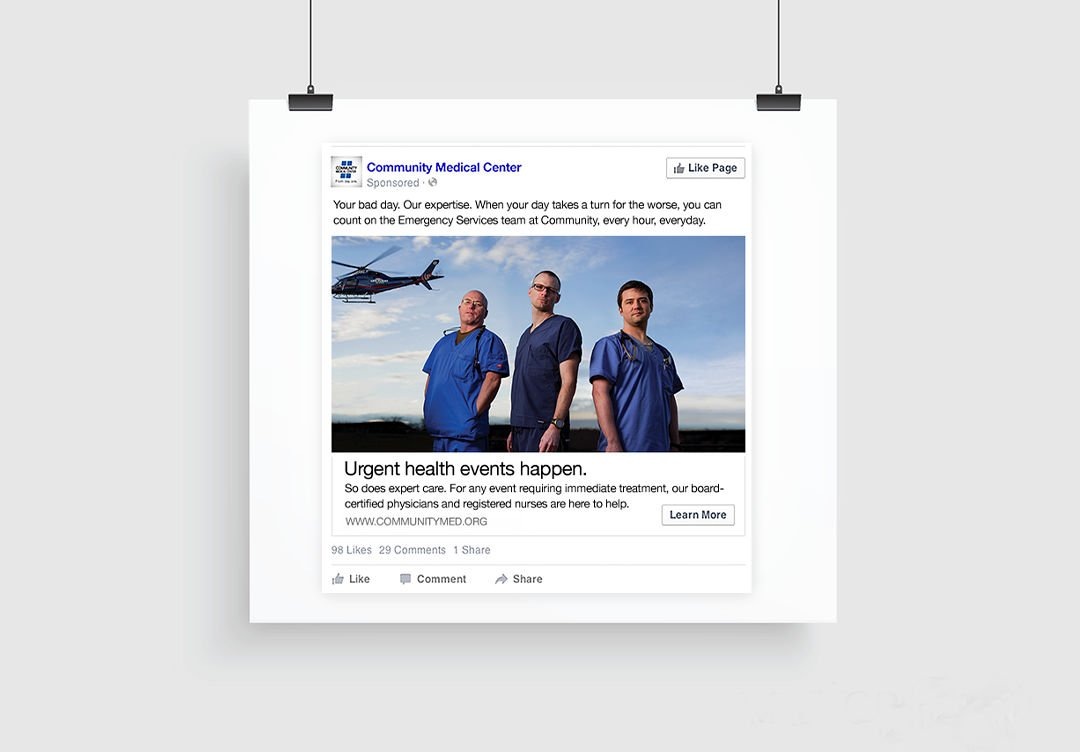 Facebook advertising: Agency / Client: Community Medical Center
