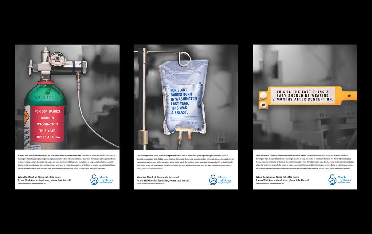 Print advertising: Agency / Client: BlackWing Creative: March of Dimes
